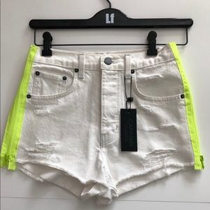 Carmar white Denim shorts with side neon zippers
